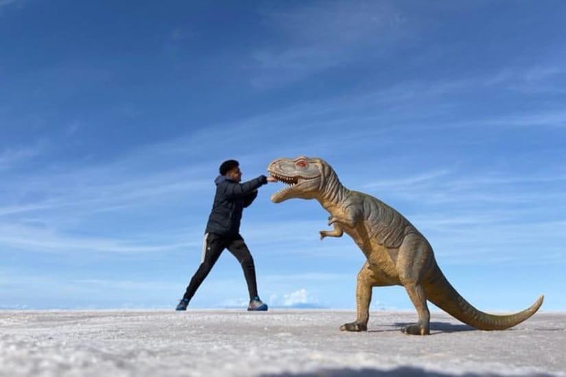 Salt Flats - man with dinosaur