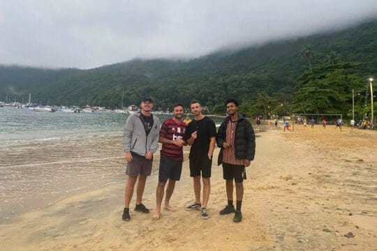 Group of lads on beach