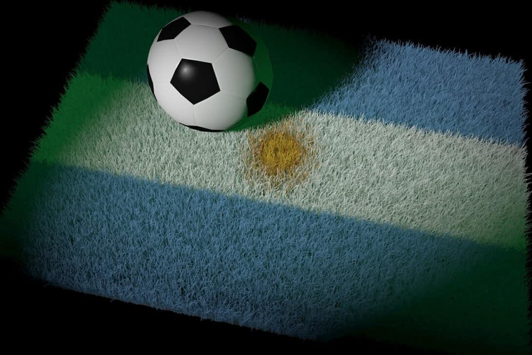Football and Argentina flag