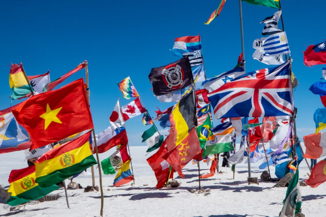 Flags at salt flats