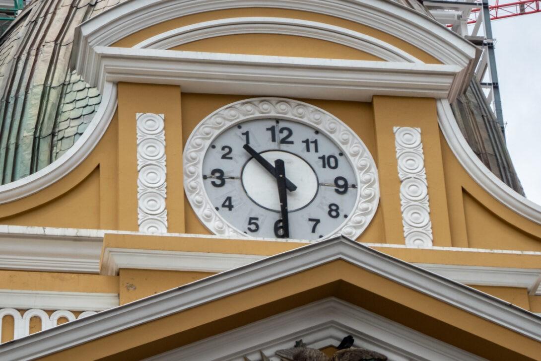Backwards clock in La Paz, Bolivia
