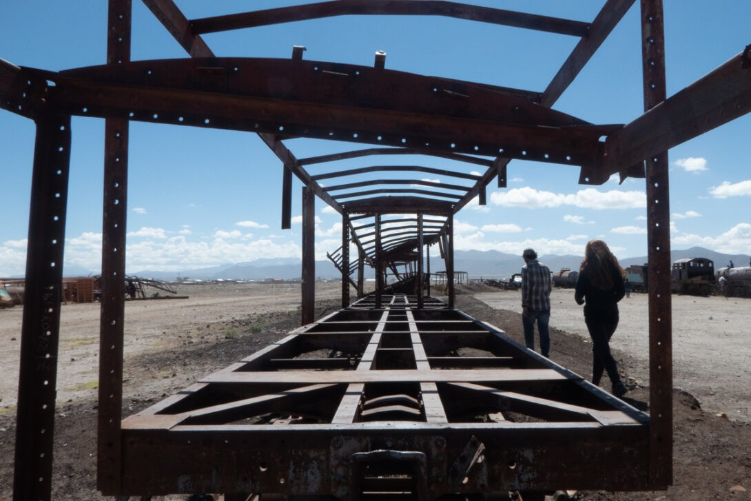 Rusted train carcass